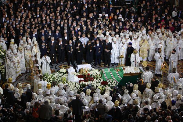 Отпевание патриарха Алексия II в храме Христа Спасителя