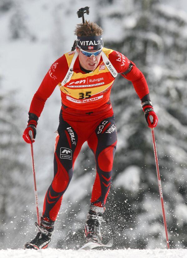 Эмиль Свендсен во время спринтерской гонке на этапе Кубка мира в Хохфильцене