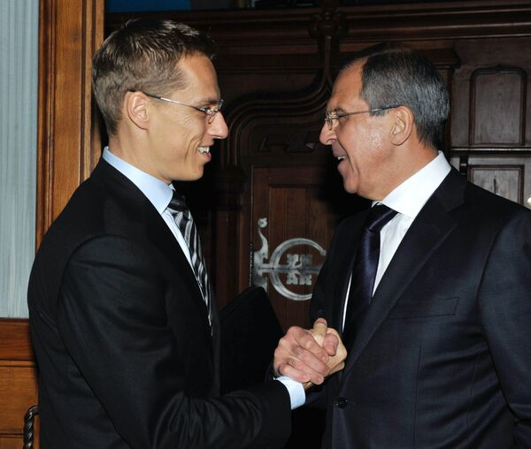 Министр иностранных дел России Сергей Лавров и министр иностранных дел Финляндии Александер Стубб. Архив