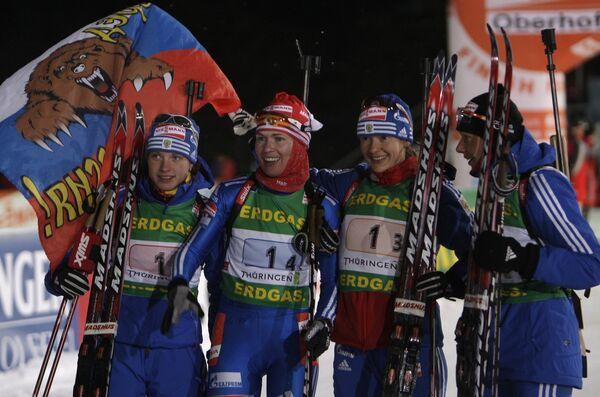 Российские биатлонистки выиграли эстафету на этапе Кубка мира в немецком Оберхофе