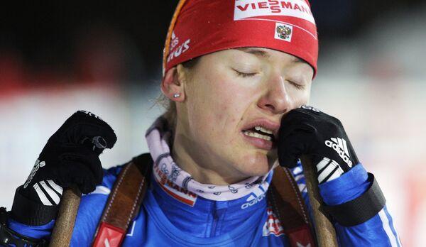 Екатерина Юрьева после выигрыша спринта на четвертом этапе Кубка мира