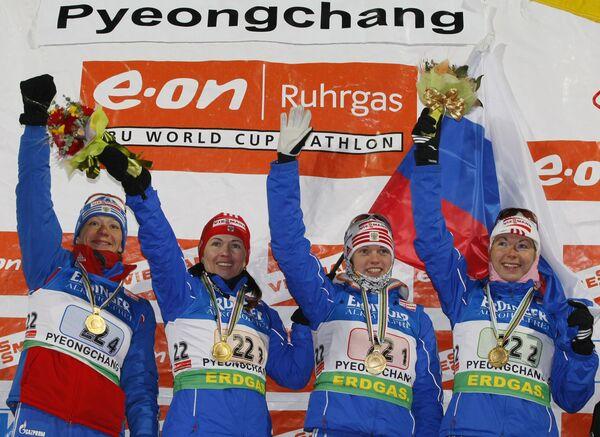 906c4238912a Первое золото на ЧМ по биатлону России принесла женская эстафета ...