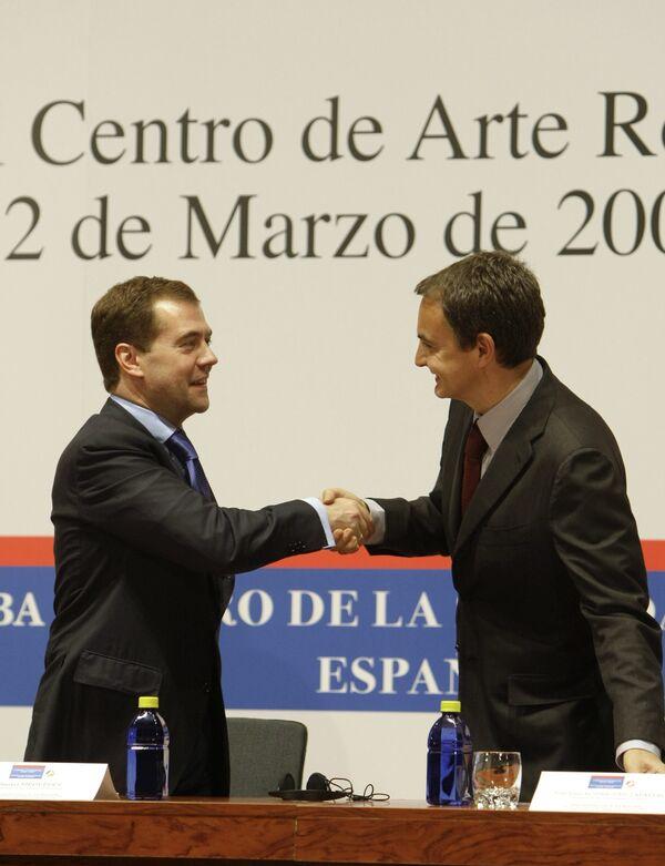 Медведев и Сапатеро на заседании российско-испанского форума Диалог гражданских обществ