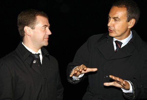 Президент России Д.Медведев и премьер-министр Испании Х.Сапатеро