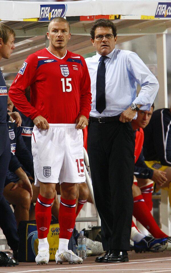 Дэвид Бекхэм (слева) и Фабио Капелло