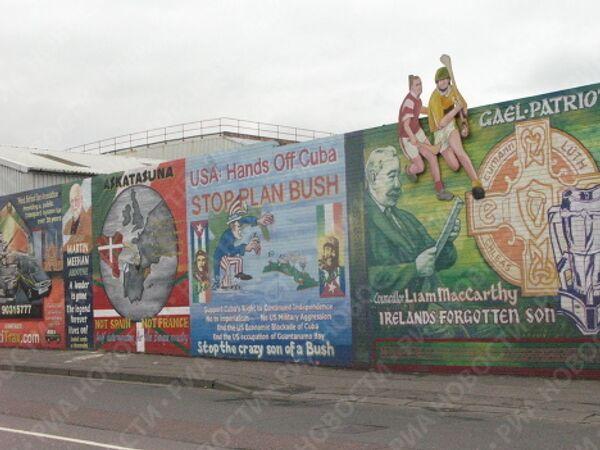 Фресками на знаменитой международной стене республиканцы выразили поддержку палестинцам, баскам и кубинцам