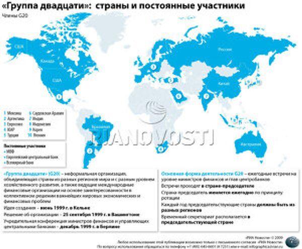 «Группа двадцати»: страны и постоянные участники