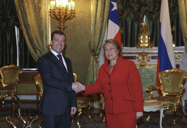 Встреча президентов России и Чили Дмитрия Медведева и Мишель Бачелет