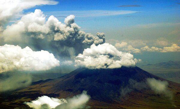 Купол вулкана Шивелуч на Камчатке прорезала глубокая расщелина