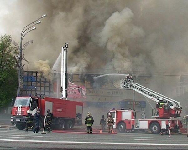 Пожар в зале игровых автоматов на Смоленской площади
