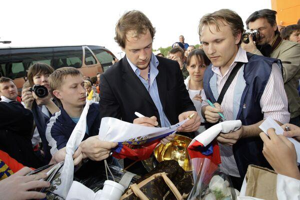 Встреча сборной России по хоккею в аэропорту Шереметьево-1