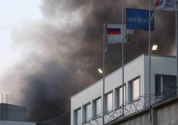 Пожар на складе ФГУП Почта России в подмосковном Климовске