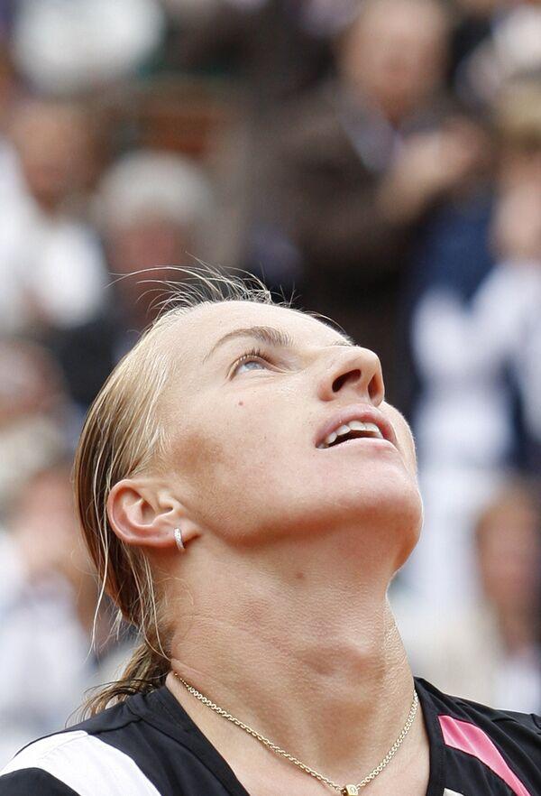 Светлана Кузнецова празднует победу на Ролан Гаррос