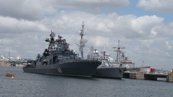 Корабли-участники Фрукус-2009 на базе ВМС Франции в Бресте (на первом плане - БПК Североморск). Архивное фото