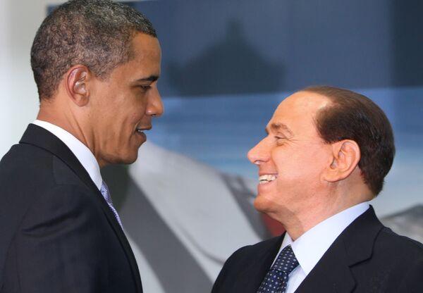 Барак Обама и Сильвио Берлускони на саммите большой восьмерки-2009