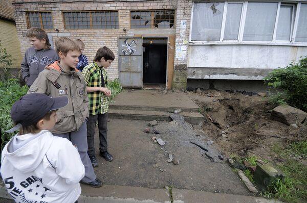 На месте падения учебного снаряда во Владивостоке