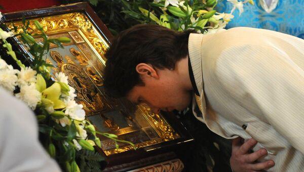 Чудотворная икона Божией матери Знамение Курская Коренная. Архивное фото