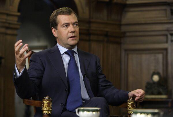 Президент РФ Дмитрий Медведев дал интервью представителям швейцарских СМИ