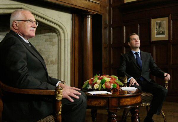 Встреча президента РФ Дмитрия Медведева с президентом Чешской Республики Вацлавом Клаусом