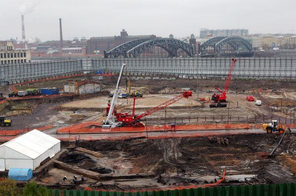 Строительство делового центра Охта центр в Санкт-Петербурге