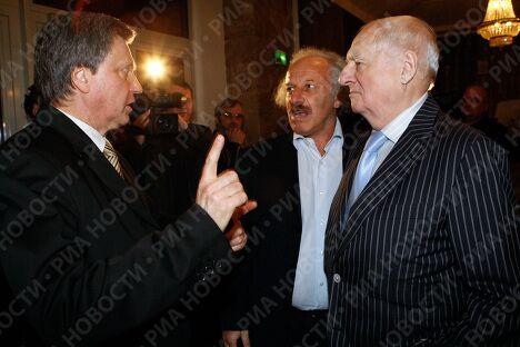 Марк Захаров, Шод Муладжанов и Сергей Худяков на праздновании юбилея Николая Караченцова