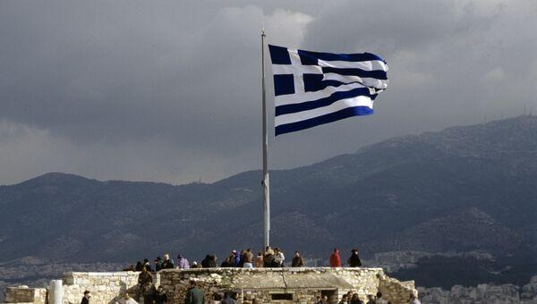 Греческий флаг. Архивное фото