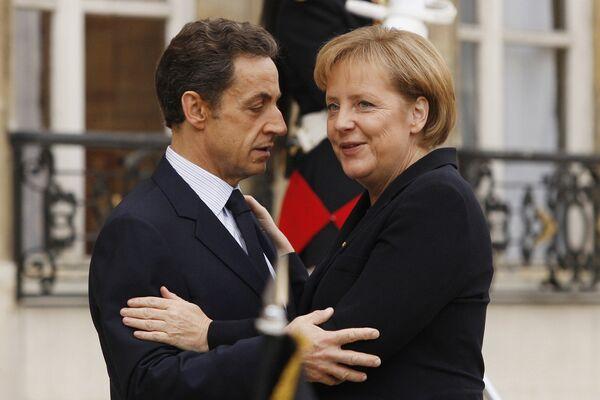 Канцлер Германии Ангела Меркель с президентом Франции Николя Саркози