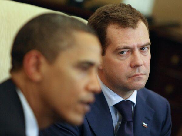 Встреча президента РФ Дмитрия Медведева и президента США Барака Обамы. Архив