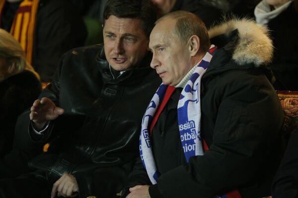 Премьер-министры РФ и Словении посетили футбольный матч Россия-Словения