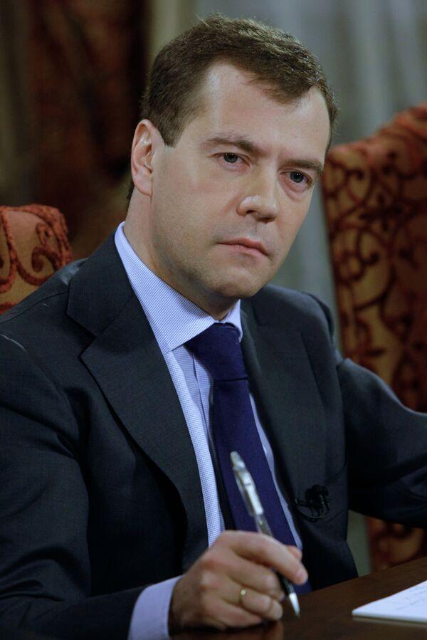 Интервью президента РФ Дмитрия Медведева белорусским СМИ