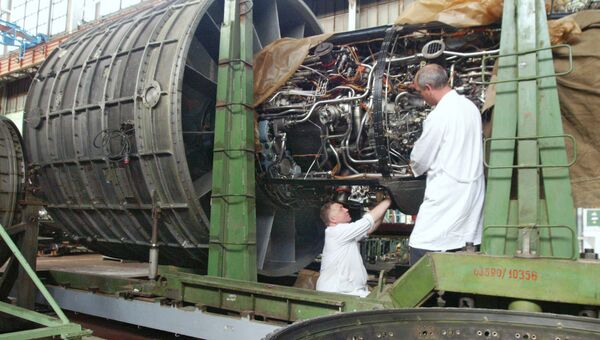 Производство авиадвигателей, архивное фото
