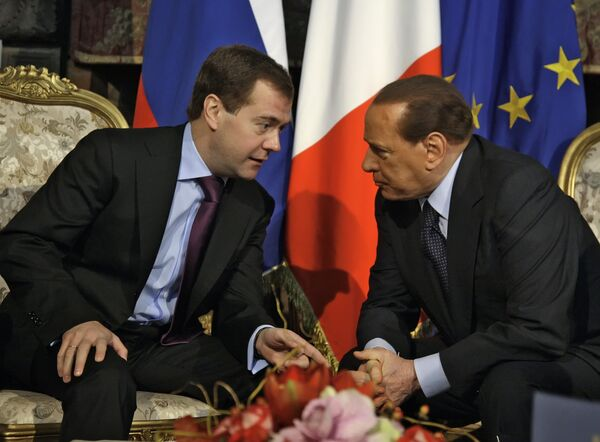 Президент России Дмитрий Медведев и премьер-министр Италии Сильвио Берлускони. Архив