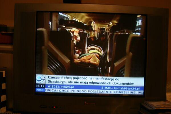 Репортаж о захвате поезда беженцами из Грузии и России в Польше телеканала TVN24