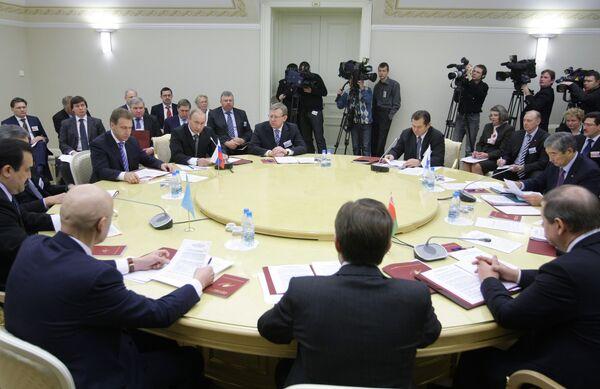 Заседание Высшего органа Таможенного союза России, Белоруссии и Казахстана на уровне глав правительств. Архив