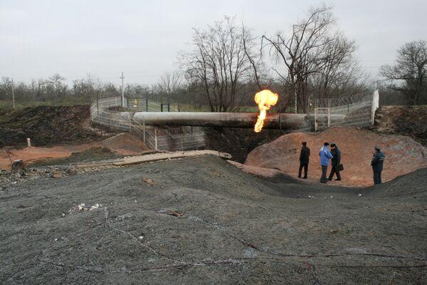 Последствия взрыва магистральный газопровода в Дагестане. Архив.