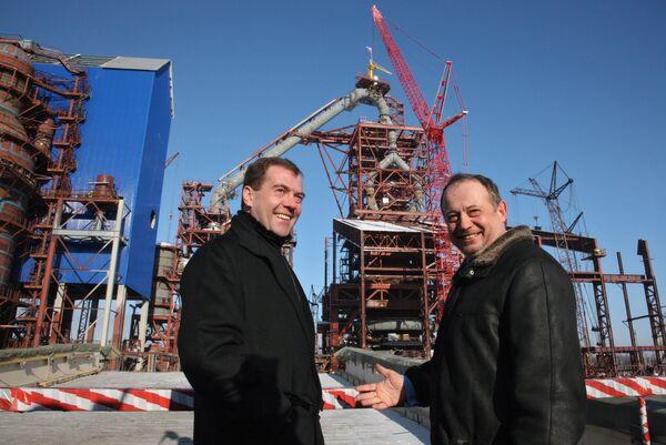 Президент РФ Д.Медведев посетил Новолипецкий металлургический комбинат (НЛМК)