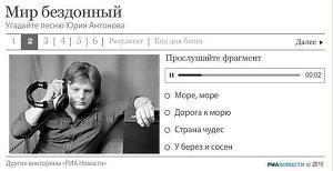 Викторина про песни Юрия Антонова