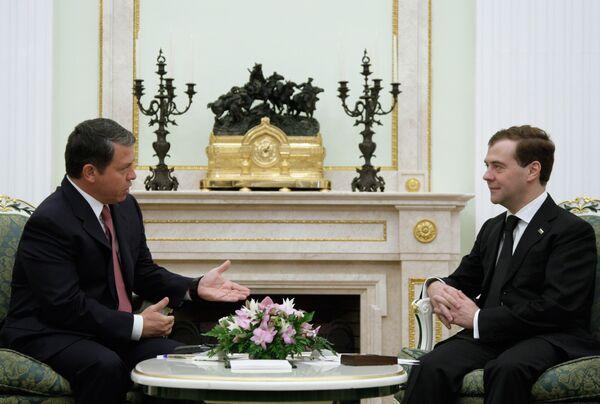 Встреча президента РФ Дмитрия Медведева и короля Иордании Абдаллы Второго в Кремле