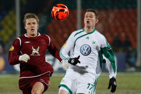 Игровой момент матча Рубин (Казань, Россия) - Вольфсбург (Вольфсбург, Германия)