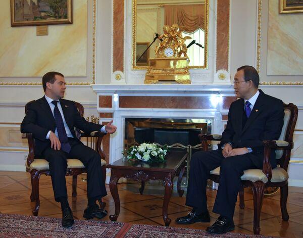 Президент РФ Дмитрий Медведев встретился с генсеком ООН
