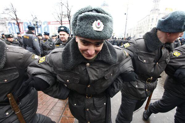 Сотрудники правоохранительных органов на Пушкинской площади. Архив