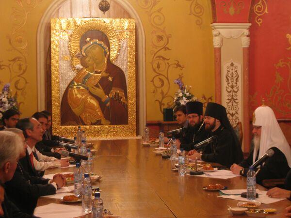 Встреча патриарха Кирилла с президентом Гватемалы Альваро Коломом Кабальересом. Архив
