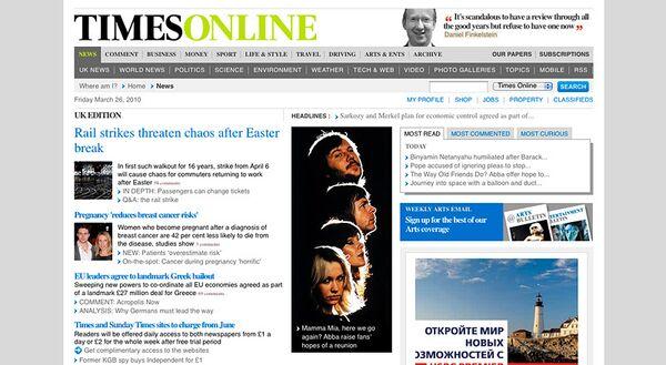 Интернет-сайт газеты Times