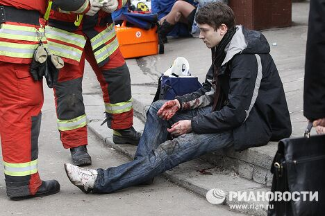 Пострадавшие в результате взрыва на станции метро Парк культуры