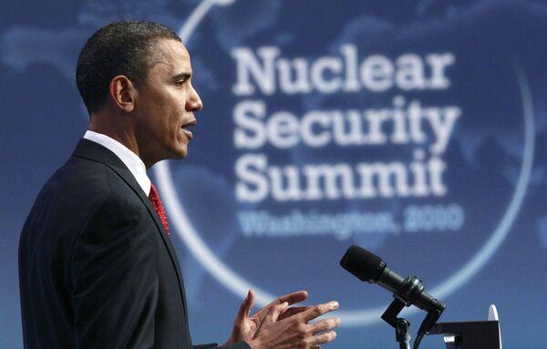 Президент США Барак Обама во время закрытия саммита в Вашингтоне