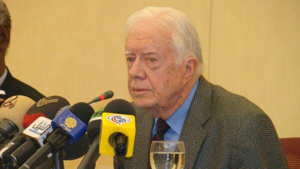 Экс-президент США Джимми Картер на пресс-конференции в Хартуме
