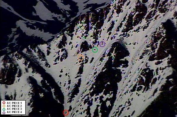 Останки рухнувшего самолета компании Памир эйруэйз в горах Афганистана