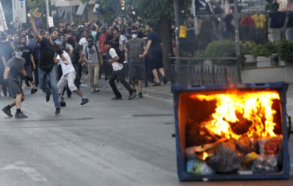 Акция протеста у посольства Израиля в Афинах