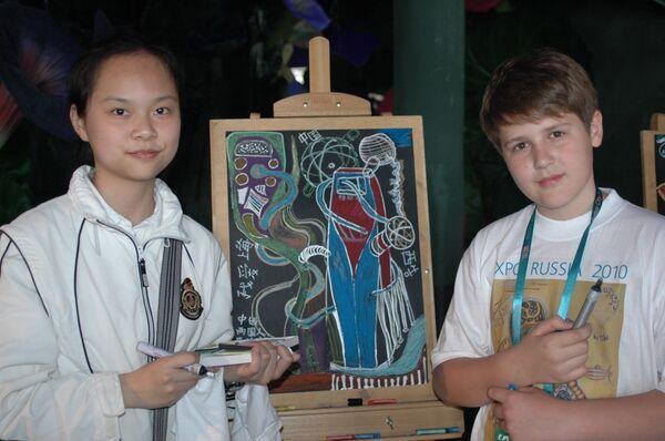 В российском павильоне на ЭКСПО-2010 дети провели акцию «Вместе рисуем будущее»