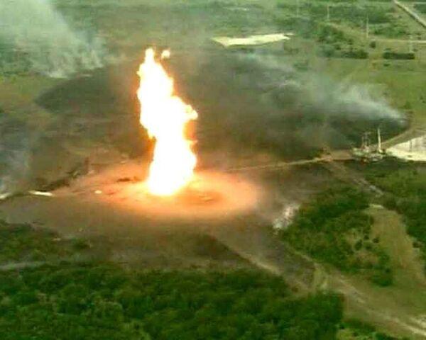 Взрыв на подземном газопроводе. Видео с места ЧП
